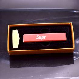 2019 briquet électronique usb Briquet en métal USB coupe-vent électronique rechargeable coupe-vent ensemble avec câble de charge USB et boîte avec cadeau de mode logo SUPR EME briquet électronique usb pas cher