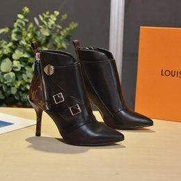 Stivali stiletto designer online-New Janet Stivaletti Stivali da donna Stivaletti 1A586V Stivaletti Luxury da donna Bottoms Fashion Stiletto Shoes Taglia 35-42