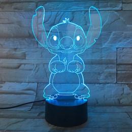 luz de noche simple Rebajas 3D pin noche linda de la historieta de luz LED cambio de la tabla toque la decoración del dormitorio de la lámpara de regalo de 7 colores de la fábrica libre de envío