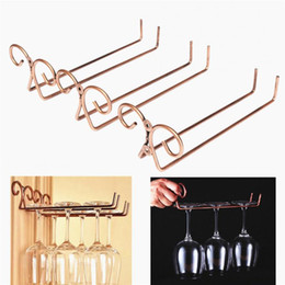 drink glasses double Coupons - Wine cup wine glass holder Hanging Drinking Glasses Stemware Rack Under Cabinet Storage Organizer Double Row for Household