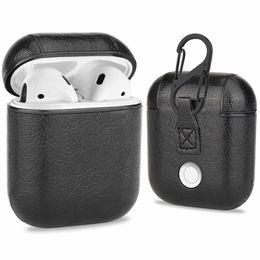 Kopfhörerhalter online-Für Apple AirPods PU-Leder-drahtlose Kopfhörer-Schutzhülle Halter Shell Abdeckungs-Fälle mit Haken mit Kleinkasten Lade