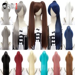 Парик для косплей парик онлайн-HSIU 80Cm Long Staight Ponytail Clip Cosplay Wig high temperature fiber Synthetic Wigs Anime Party Ponytail Party wigs 14 color