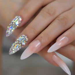 pressa per unghie Sconti Lusso 3D Gemme AB Gradiente Rosa Nudo Stampa su unghie Baby Ombre Extra lungo stiletto Punte false per unghie finte Unghie a punta