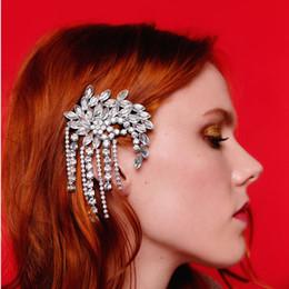 Pasador de bebé de diamantes de imitación online-Dvacaman Lujo Nupcial Hairwear Granos de cristal Con flecos Pasadores de pelo Rhinestone Mujeres de la boda Bobby Pins Baby Girls Barrettes