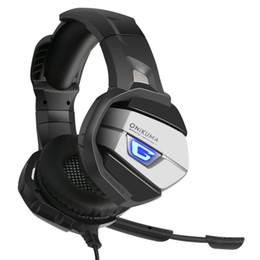 auricolare bluetooth oppo Sconti ONIKUMA Gaming Headset potenziato Super Bass Noise Cancelling Cuffie stereo a LED con microfono per PS4 Xbox PC Laptop 1 PCS di alta qualità