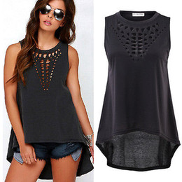 Camisetas negras sin mangas baratas online-Hot New 2016 Mujeres Retro Negro Hollow Out Tank Tops Sexy Chaleco Sin Mangas blusa Casual Camisa Suelta Blusa Crochet Tops Barato