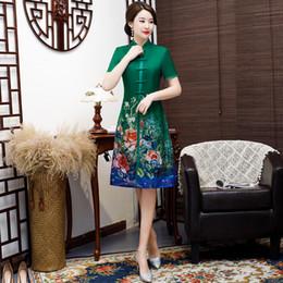 vestido tradicional chinês verde Desconto Verde do vintage 2 pc Estilo Chinês Aodai Qipao Curto Rayon Cheongsam Vestido de Impressão Chinês Tradicional das Mulheres Vestido de Tamanho M-4XL