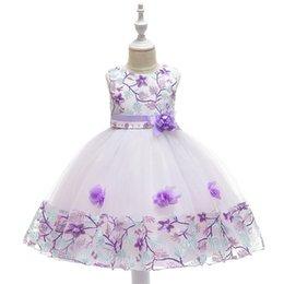 2019 Summer Girl dress Flower Girl abiti da sposa che borda l'arco del ricamo del merletto del vestito dell'abito del partito del vestito da spettacolo del partito da bordare l'abito di sfera di ricamo fornitori