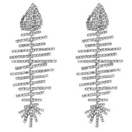 Europeo e americano esagerato grandi orecchini a lisca di pesce nome multistrato diamante moda femminile catena artiglio orecchino di stile Boemia cross-bord da
