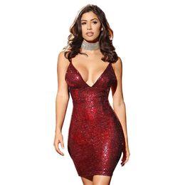 Nuovi vestiti da festa delle donne senza maniche scollo av con scollo a V profondo Lady Sashes Sexy Club Abiti Abbigliamento femminile da