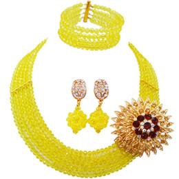 Set di gioielli in rosa giallo online-vendita all'ingrosso Classic Fashion Nigeria Wedding Africa Beads Jewelry Set giallo collana braccialetto set di gioielli da sposa MH-29