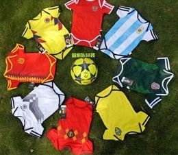 Deutschland 2018 World Cup Spanien Baby Trikots Kolumbien Mexiko Russland Baby Overalls Argentinien Schweden Belgien Kinder Trikot T-Shirts Kits cheap colombia kits Versorgung