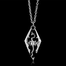 vintage lucite pendant Promo Codes - The Elder Scrolls V Skyrim Necklace Punk Vintage 3D RPG Game Dragon The Elder Scrolls V Pendant Necklace Movie Hollow Dragon Pendants