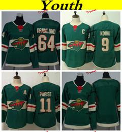 Youth Minnesota Wild 2019 11 Zach Parise 9 Mikko Koivu 64 Mikael Granlund Hockey  Jerseys Home Team Green Cheap Kids Boys Stitched Shirts 76a803fdb