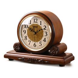 Madeira maciça antiga on-line-Função de marcação de Relógio de Madeira Sólida Clássico Europeu Antigo Criativo Relógio de Quartzo Sala de estar Quarto Ferramenta de Timekeeping