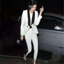 calças de vestido branco feminino Desconto Branco / preto calças das mulheres terno vestido de terno senhoras casuais única fivela calças jaqueta personalizada