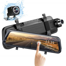"car dvr rear vision mirror Promo Codes - 1080P FHD car DVR mirror stream media recorder rearview dual cam 2Ch front 170° rear 145° view 10"" touchscreen 2.5D curved glass"