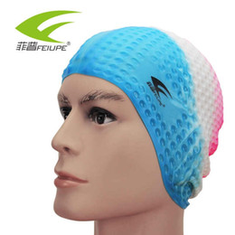 hats short hair Promo Codes - FEIUPE Flexible Silicone Waterproof Swimming Cap Swimwear hat Cover Ear Swim for Men women Unisex Adult long short hair