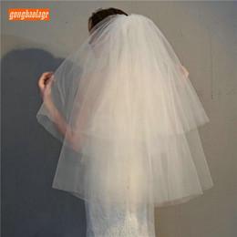 velhos baratos do casamento do marfim barato Desconto Elegante curto branco de noiva de veludo Macio véus de Tule duas camadas 75 cm com combe para Ivory Noiva véu 2019 Novo Barato