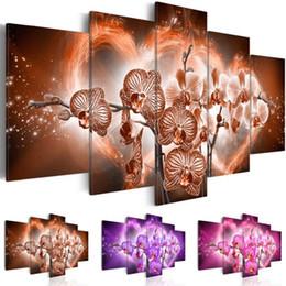 Óleo, pinturas, lona, orquídeas on-line-5 pcs imagem home decoracion pintura a óleo da parede da lona da lona pictures para sala de estar moderna do coração orquídea pinturas (sem quadros)
