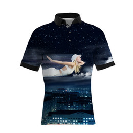 Stern mann hemd online-19SS New Style Urban Nacht Star Sky Print Herren Freizeit Polo Shirts Hot Sellers GROßE GRÖßE Herren Designer T Shirts Lose Version
