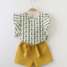 3dd51f502f Ropa de bebé niña de verano trajes Ropa para niños Mosca de manga Blusa  superior + Pantalones cortos 2 Unids Trajes de niña Conjuntos para niños  ropa de ...