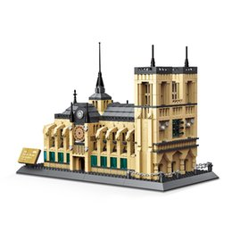 construção de modelo diy Desconto Catedral Notre Dame De Paris 3D Puzzle DIY Compatível Arquitetura Famosa Blocos de Construção Clássico Modelo da Igreja Tijolos Brinquedos