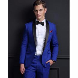 071b1add706 2019 por encargo trajes para hombre de la solapa del mantón Slim Fit formal  mejor hombre Chaquetas de esmoquin conjuntos de 2 piezas Royal Blue trajes  de ...
