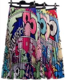 Argentina Mujeres New-Coming Europen patrón de dibujos animados de alta elasticidad falda de impresión plisada High Street Style A-line vestido corto más tamaño ropa S-2XL Suministro