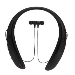Casque bluetooth batterie rechargeable en Ligne-écouteurs de sport casque Bluetooth sans fil avec tour de cou contrôle du volume du haut-parleur double caméra microphone batterie rechargeable fente pour carte TF