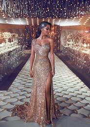 2019 um vestido de noiva de um ombro Sexy Rose Gold Barato Bainha Vestidos de Noite Bling Bling Lantejoulas de Um Ombro Sweep Train Evening Vestidos Abendkleider Vestidos de Desgaste da Noite desconto um vestido de noiva de um ombro
