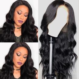 Longs cheveux noirs en Ligne-Brésilienne Body Wave Wig Perruque En Dentelle Préplucked Pour Les Femmes Noires Lemoda Longs Cheveux Remy 13x4 Avant de Lacet Perruques de Cheveux Humains