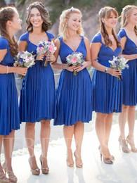 Элегантные мантии спандекса онлайн-Глубокий V шеи до колен платье невесты 2020 Последние Elegant A-Line без рукавов Cap рукава Spandex платье невесты Свадьба платье Дешевые
