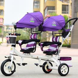 räder für kinderwagen Rabatt Baby Twin Dreirad Kinderwagen 3 Räder Doppel Kinderwagen für Kinder Zwillinge Leitplanke Sitz Baby Kleinkind Fahrrad Auto Dreirad Kinderwagen
