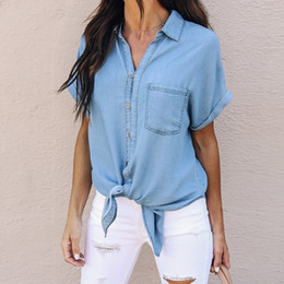 6f590b87acbc Distribuidores de descuento Camisas De Mezclilla Azul Para Las ...
