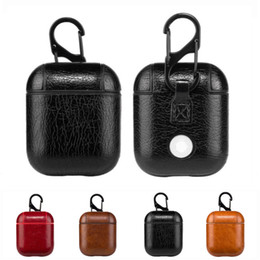black box wine wholesale Promo Codes - For Apple AirPods PU Leather Case Portable Protective Shockproof Earphone Cover Cases With Anti-lost Hanging Keychain