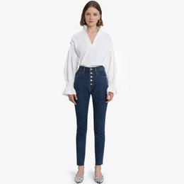 camicia in scamosciata con colletto Sconti Retro V-Neck Bishop Sleeve Flouncing Shirt Vintage Stand Collar Ruffles Polsino elastico in cotone Camicetta donna bianca da donna