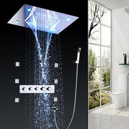 chuveiro de chuva de massagem Desconto Sistema de painel de chuveiro de aço inoxidável, LED Rainfall Waterfall Shower Head 2-Function Faucet Rain Massage System com Body Jet 20180927 #