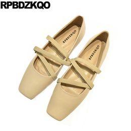 Мягкие удобные туфли онлайн-Chinese Slip On Nude Shoes Genuine Leather Ballerina Ladies Elastic  Mary Jane Comfy Square Toe Soft Ballet Flats Women