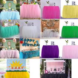 2019 botín de mesa de bodas de oro Home Textiles fiesta de la boda de tul tutú de la falda del bebé del cumpleaños Tabla ducha de la boda Decoración de la mesa del arte de DIY 12PCS GGA424