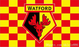 2019 fly ft Bandiera Watford FC 90 x 150 cm Poliestere WFC Banner pubblicitario degli Hornets England Football Club