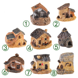 2019 casa in miniatura diy Carino Mini Stone House Fairy Garden Miniature Craft Micro Cottage Paesaggio Decorazione per DIY Resin Artigianato 8 stili MMA1634 sconti casa in miniatura diy