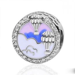 bijoux tropicaux en gros Promotion New Authentic 100% 925 Perles En Argent Sterling Mixte Enamel Hot Air Balloon Trip Charmes Fit Pandora Bracelets Diy Femmes Bijoux