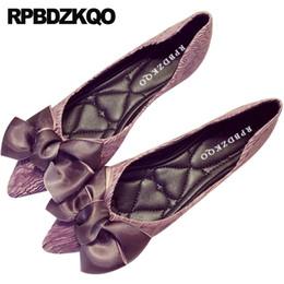 2019 scarpe da sposa arco viola scarpe basse da donna verde con piccola graziosa ballerina da cerimonia nuziale a fiocco grande ballerina a punta alta con fiocco abbellito da un viola scarpe da sposa arco viola economici