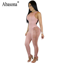 Tuta nera d'estate online-Abasona Tute da donna Sexy Night Club Wear Donna Pagliaccetti Hollow Out Summer Tuta aderente Nero Rosa Tuta Femme Y19060501