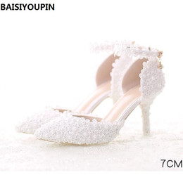 2019 dos zapatos de vestir 2018 The New Pearl White Lace Zapatos de boda con zapatos de vestir de novia de punta fina con zapatos de tacón alto para mujeres de 7 cm rebajas dos zapatos de vestir