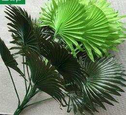 grandi decorazioni di vaso di fiori Sconti Simulato grande foglia di decorazione interna di foglie di fiori verde piantare foglie di palma tiro puntelli fiori in vaso all'ingrosso atterraggio WL212