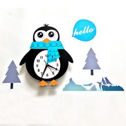 Настольные часы онлайн-Мультфильм Настенные Часы Милые Животные Пингвин Украшения Дома Настенные Часы Для Гостиной Спальни Современный Дизайн Настольные Часы
