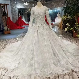 7c40ca0561 Grey Muslim Wedding Dresses O Neck Long Sleeve Lace Up Back Wedding Gown  With Long Train Bridal Dress Free Shipping 2019 Newest Design