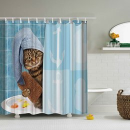 Lazy Fat Cat Shower Curtain Set 71X71Inch Polyester Bathroom With 12 Hooks